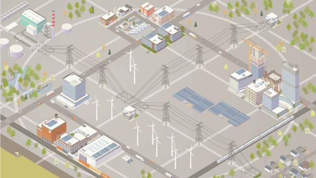 digital graphic of telecom towers, wind turbines, and power plants