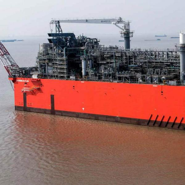 Floating liquified natural gas in the water